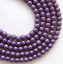 3mm Round Czech Glass Beads Metallic Purple Suede - 100